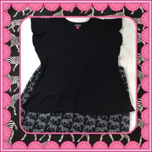 VINCE CAMUTO BLACK TOP WITH BUTTERFLY SLEEVES M
